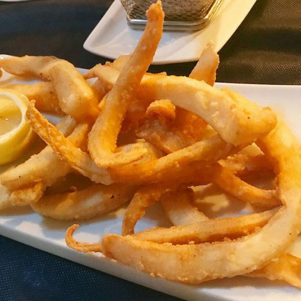 Fried fresh squids