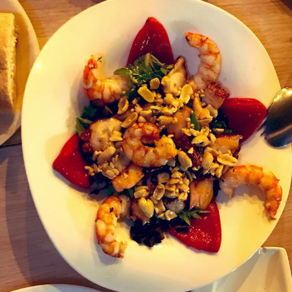 Octopus salad, prawns, nuts and honey